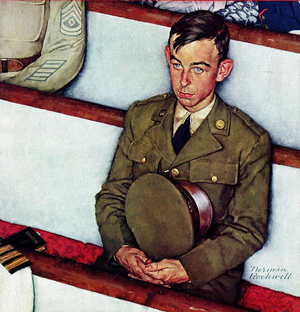 Churches Art Print featuring the drawing willie Gillis In Church by Norman Rockwell