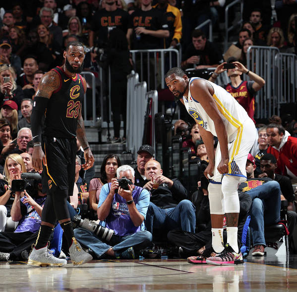 Playoffs Art Print featuring the photograph Kevin Durant and Lebron James by Nathaniel S. Butler