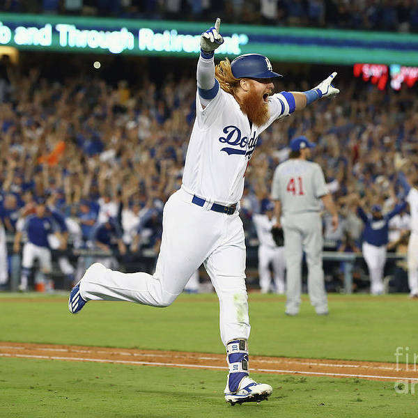 Game Two Art Print featuring the photograph Justin Turner by Ezra Shaw