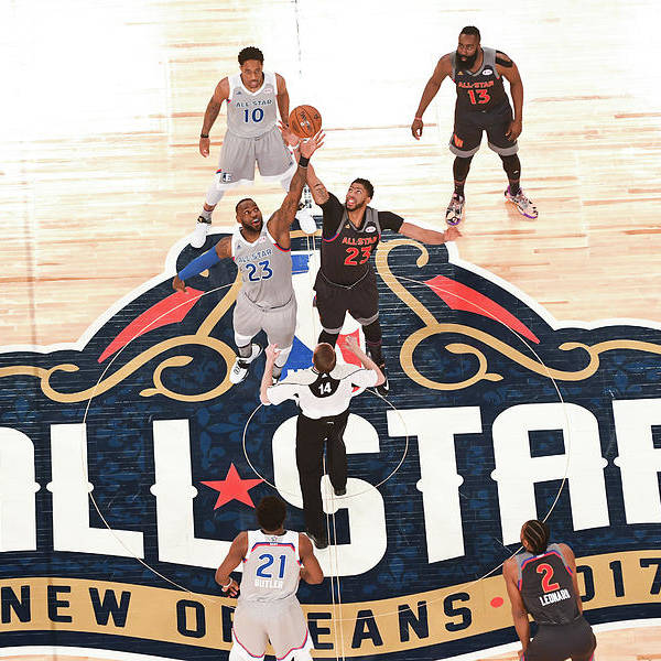 Event Art Print featuring the photograph Anthony Davis and Lebron James by Garrett Ellwood