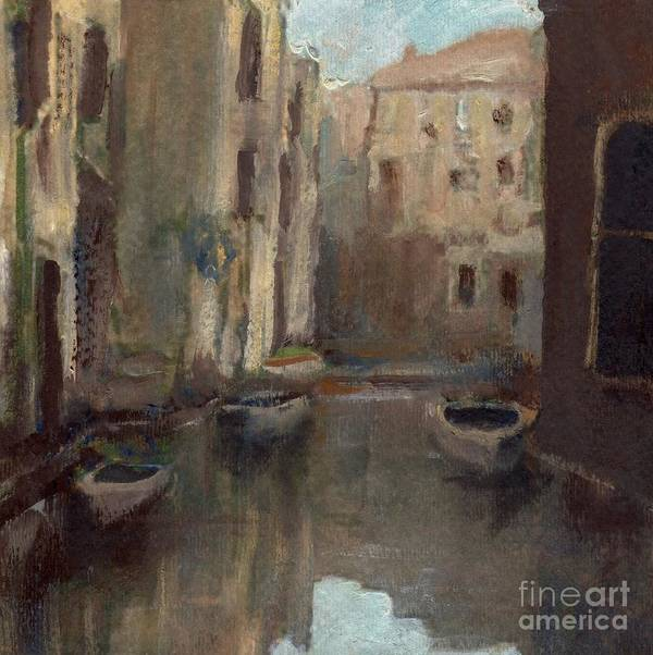 Venice Art Print featuring the painting Back Canal Venice by Randy Sprout