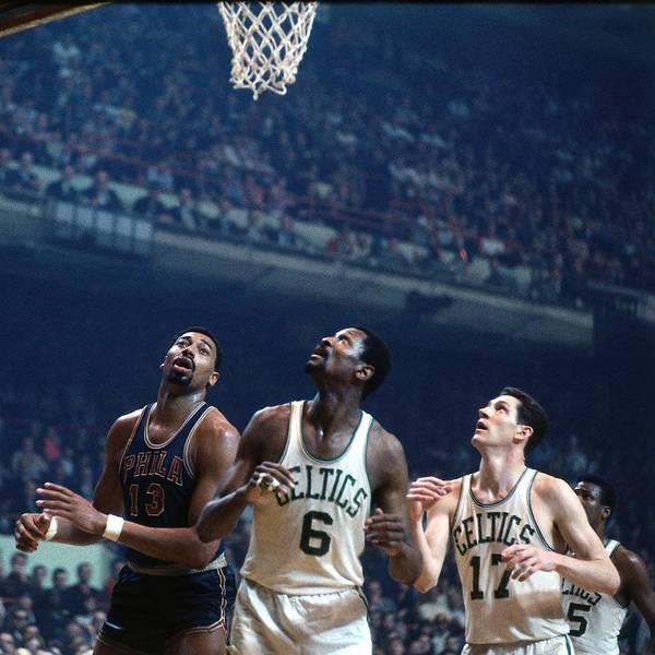 Nba Pro Basketball Art Print featuring the photograph Bill Russell, John Havlicek, and Wilt Chamberlain by Dick Raphael