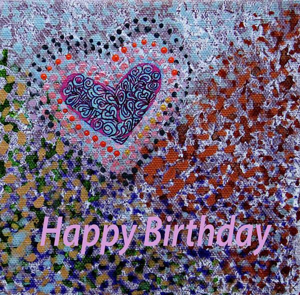 Birthday Art Print featuring the digital art Birthday Heart 020 by Corinne Carroll