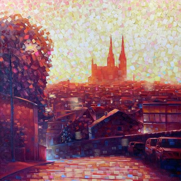 Auvergne Art Print featuring the painting Cathedral Sunrise by Robert Buntin