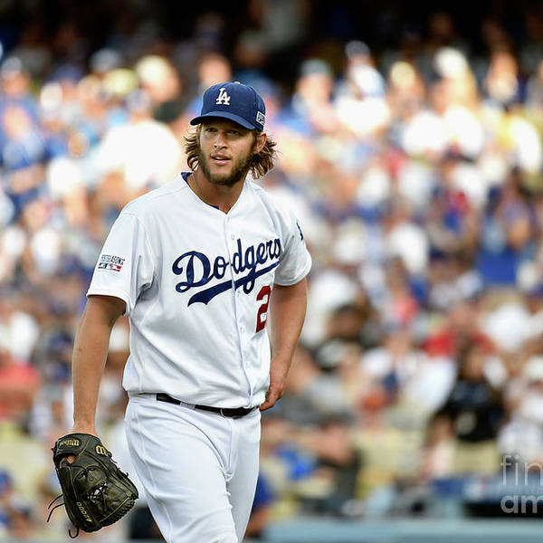 People Art Print featuring the photograph Clayton Kershaw and Jhonny Peralta by Kevork Djansezian