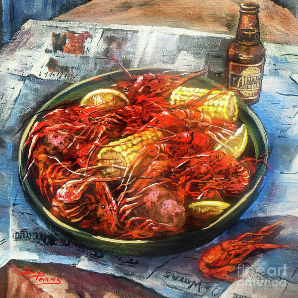 New Orleans Food Art Print featuring the painting Crawfish Celebration by Dianne Parks