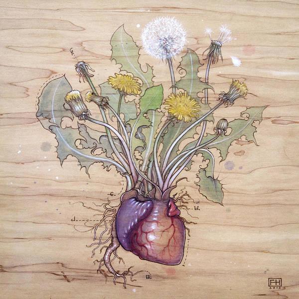 Dandelion Art Print featuring the pyrography Dandelion Heart by Fay Helfer