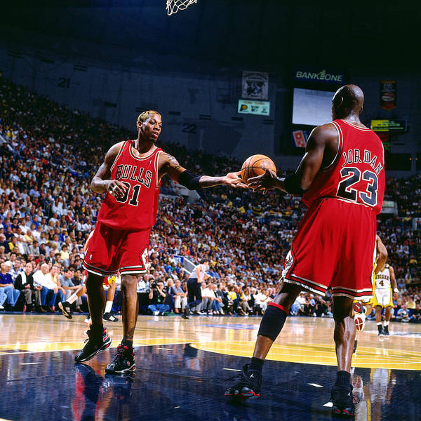 Chicago Bulls Art Print featuring the photograph Dennis Rodman and Michael Jordan by Nathaniel S. Butler