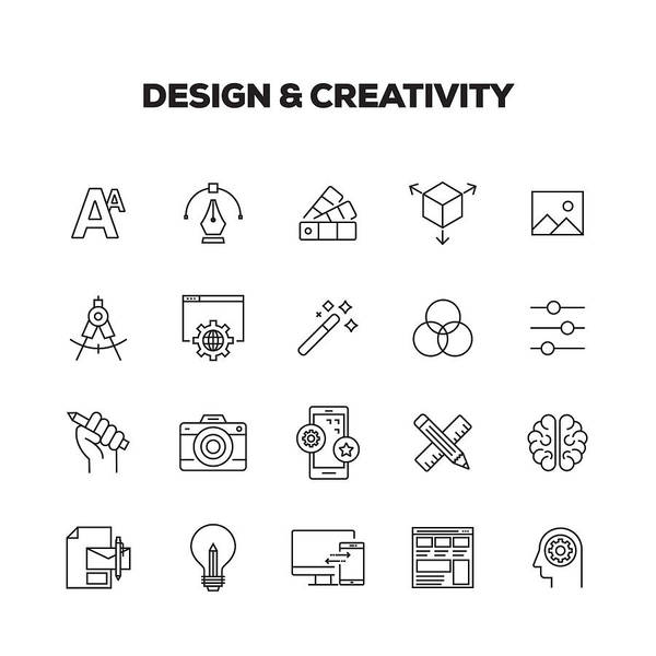 Corporate Business Art Print featuring the drawing Design And Creativity Line Icons Set by Cnythzl