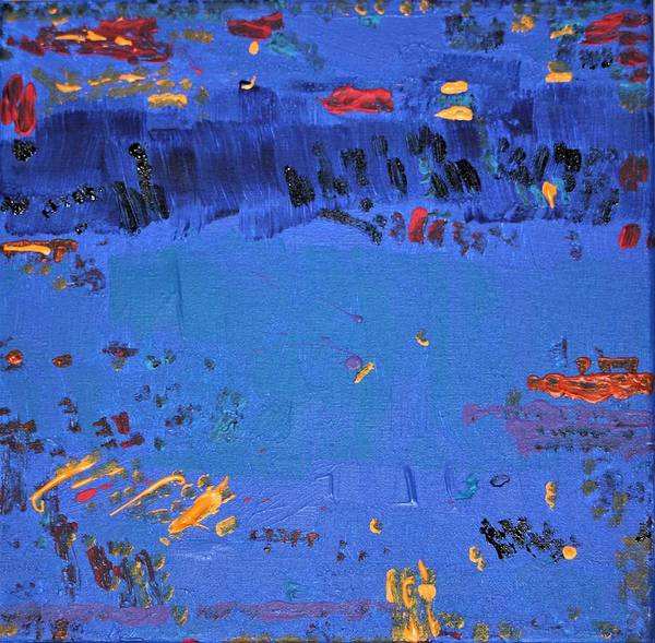 Blue Art Print featuring the painting Dry Heat by Pam Roth O'Mara