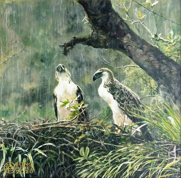 Philippine Eagle Art Print featuring the painting Eagle's Nest by Bong Perez