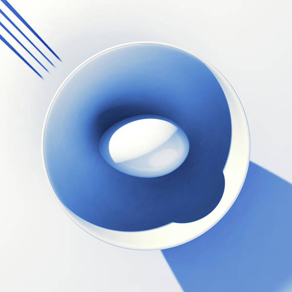 Egg Art Print featuring the digital art Egg and Bowl_electric blue after Cesare Onestini by Heike Remy