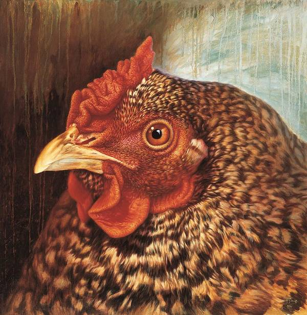 Chicken Art Print featuring the painting Eleanor3 by Hans Droog