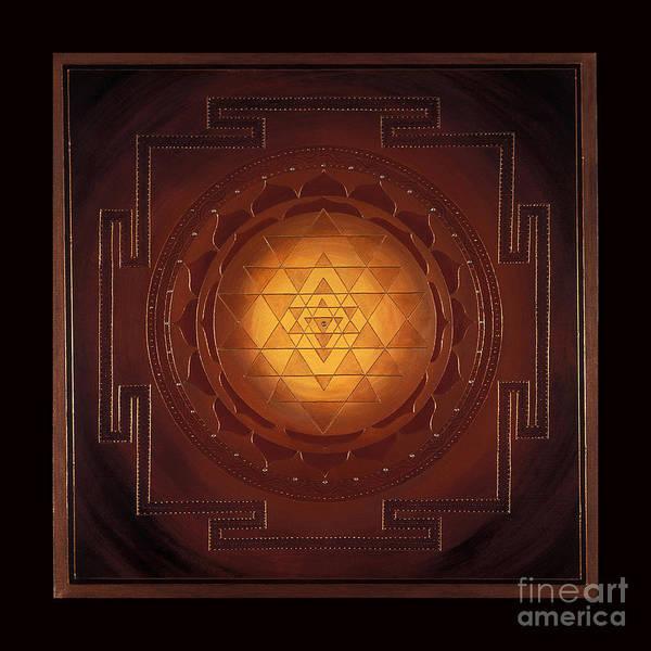 Mandala Art Print featuring the painting Golden Sri Yantra by Charlotte Backman