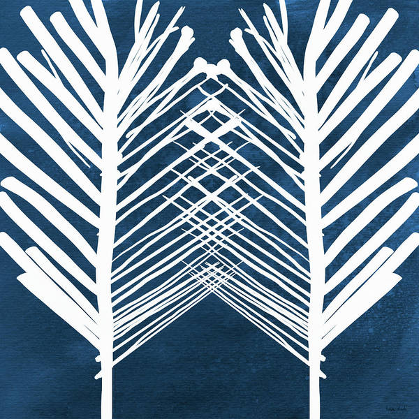 Leaves Art Print featuring the painting Indigo and White Leaves- Abstract Art by Linda Woods