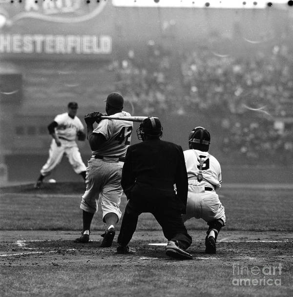 Sports Helmet Art Print featuring the photograph Jackie Robinson and Sal Maglie by Robert Riger