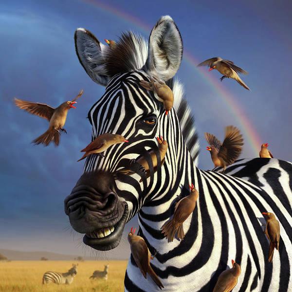 Zebra Art Print featuring the digital art Jailbird, A Closer Look by Jerry LoFaro
