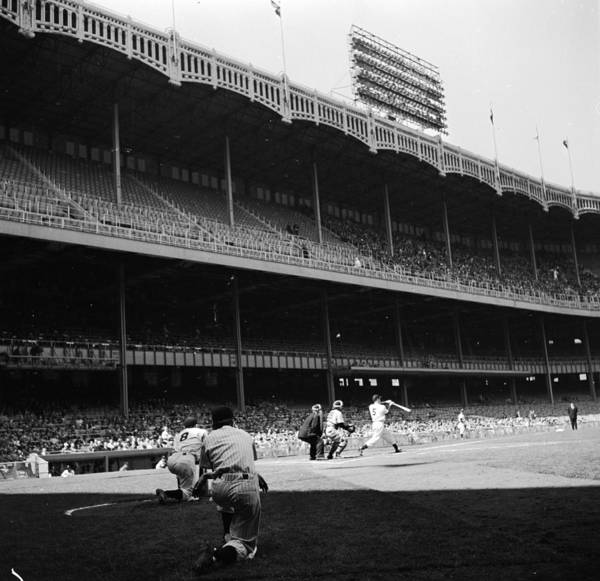 Motion Art Print featuring the photograph Joe Dimaggio and Yogi Berra by Douglas Grundy