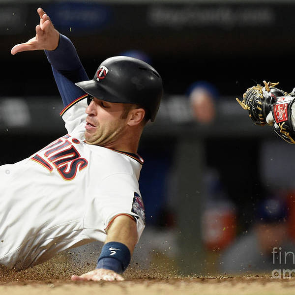 Three Quarter Length Art Print featuring the photograph Joe Mauer and Russell Martin by Hannah Foslien