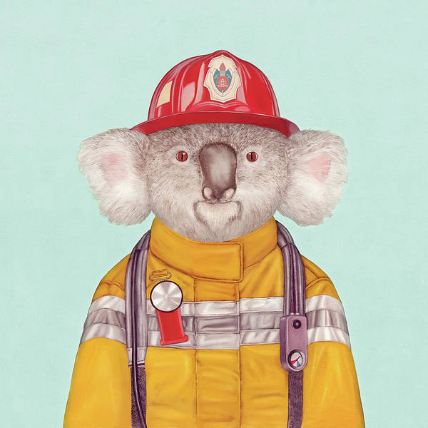 Art Print featuring the painting Koala Firefighter by Animal Crew