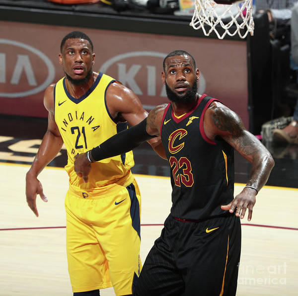 Playoffs Art Print featuring the photograph Lebron James and Thaddeus Young by Nathaniel S. Butler