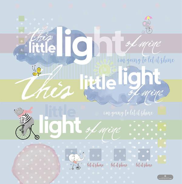 Children's Art; Light Of Mine; Christian Nursery Rhymes; Nursery Rhymes Art Print featuring the digital art Little Light by Claire Tingen