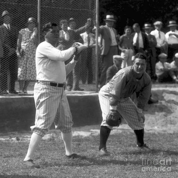 American League Baseball Art Print featuring the photograph Lou Gehrig and Babe Ruth by Olen Collection