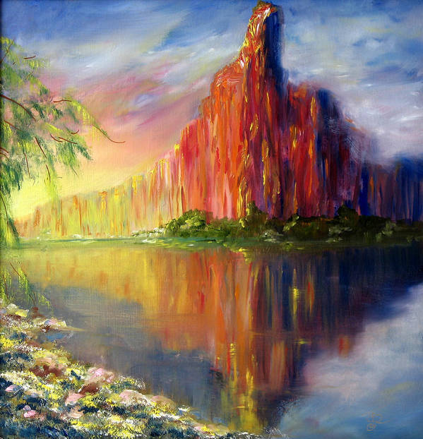 Mystic Landscape Art Print featuring the painting Mystic Mountain by Thomas Restifo