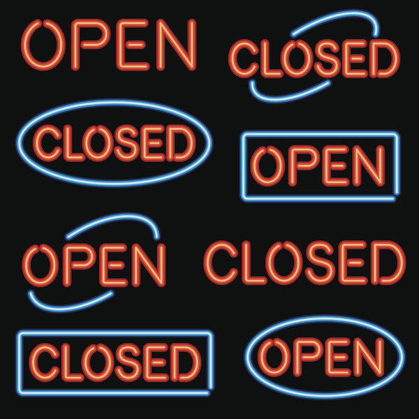 Icon Set Art Print featuring the drawing Neon 'Open' and 'Closed' Sign Set by Bortonia