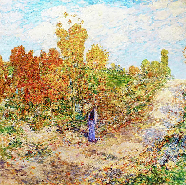 New England Road Art Print featuring the painting New England Road - Digital Remastered Edition by Frederick Childe Hassam