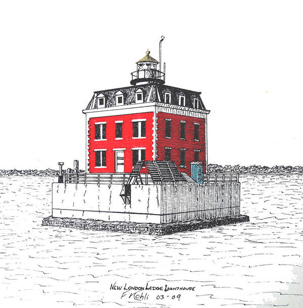 Pen And Ink Landscape Drawings Art Print featuring the drawing New London Ledge Lighthouse by Frederic Kohli