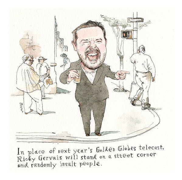 Next Year's Golden Globes Plan Revealed Art Print featuring the painting Next Years Golden Globes Plan Revealed by Barry Blitt