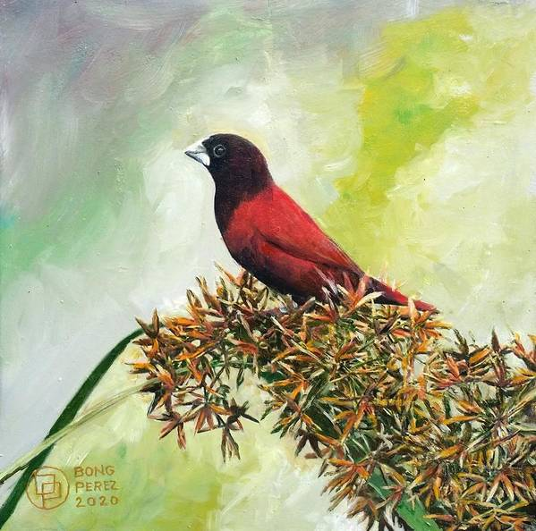 Davao Artist Paintings Art Print featuring the painting Philippine Bird 4 by Bong Perez