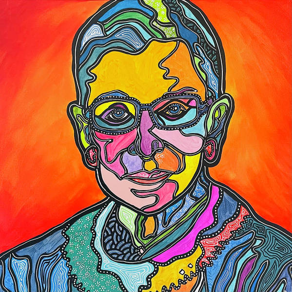 Rbg Art Print featuring the painting Rbg 2 by Marconi Calindas