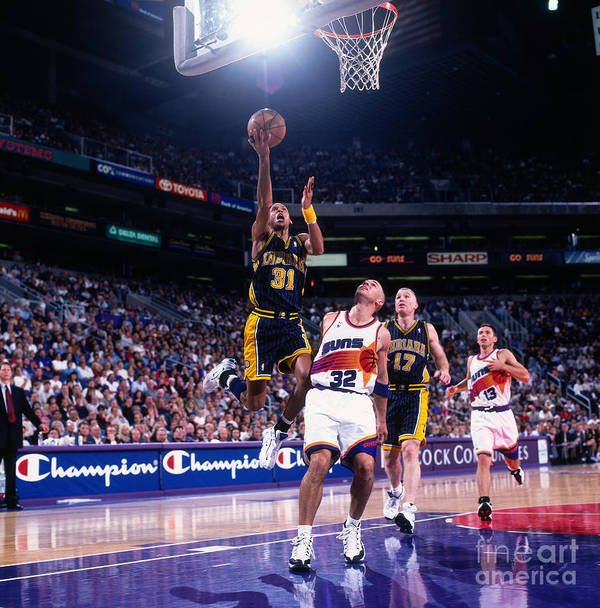 Nba Pro Basketball Art Print featuring the photograph Reggie Miller and Jason Kidd by Sam Forencich