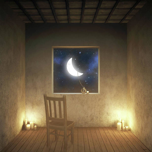 Surreal Art Print featuring the digital art Room With a View Night by Cynthia Decker