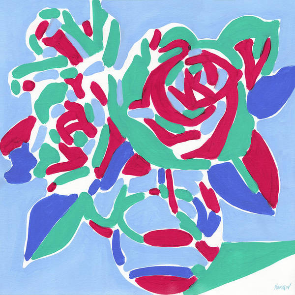 Rose Art Print featuring the painting Rose bouquet in a vase oil painting on canvas, pop art fluorescent colorful flower still life by Vitali Komarov