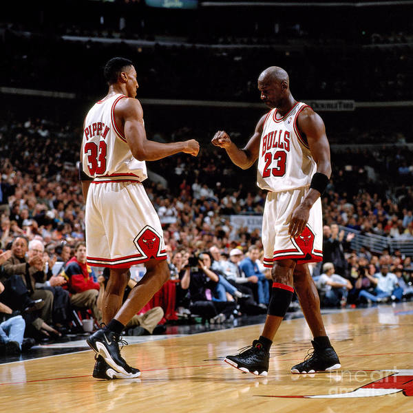 Chicago Bulls Art Print featuring the photograph Scottie Pippen and Michael Jordan by Nathaniel S. Butler