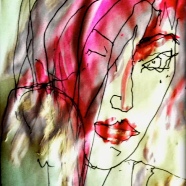 Self Portrait Art Print featuring the mixed media She's Frightened Of The Strangest Things by Angie Stimson