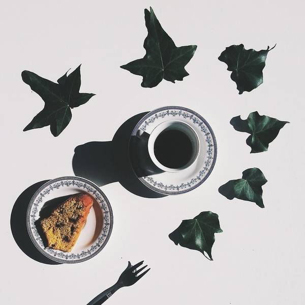 Shadow Art Print featuring the photograph Studio Shot Of Coffee Cup And Cake Surrounded By Ivy Leaves by Francesco Nacchia / EyeEm