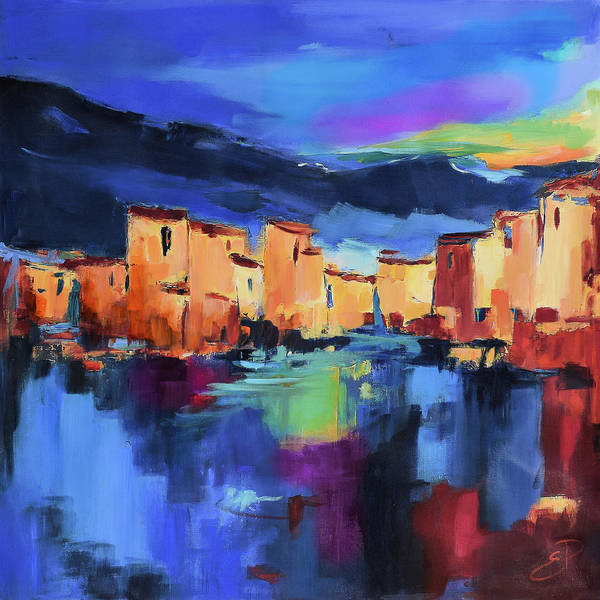 Cinque Terre Art Print featuring the painting Sunset Over the Village by Elise Palmigiani