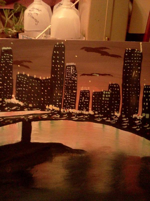 Landscape. Of City At Night And A Bridge. Art Print featuring the painting Busy Ness by Renee McKnight