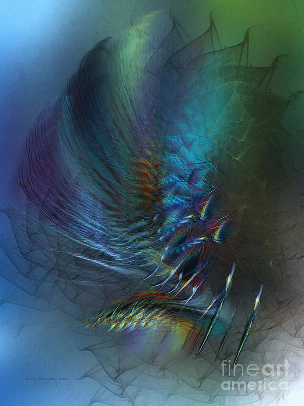 Abstract Art Print featuring the digital art Dancing With The Wind-abstract Art by Karin Kuhlmann