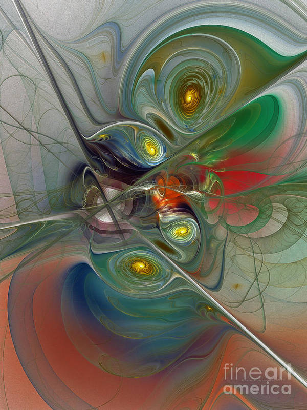 Abstract Art Print featuring the digital art Floating Lightness-abstract Art by Karin Kuhlmann