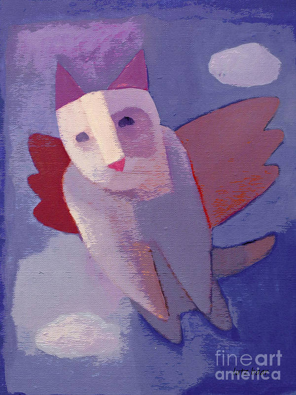 Flying Cat Art Print featuring the painting Flying Cat by Lutz Baar