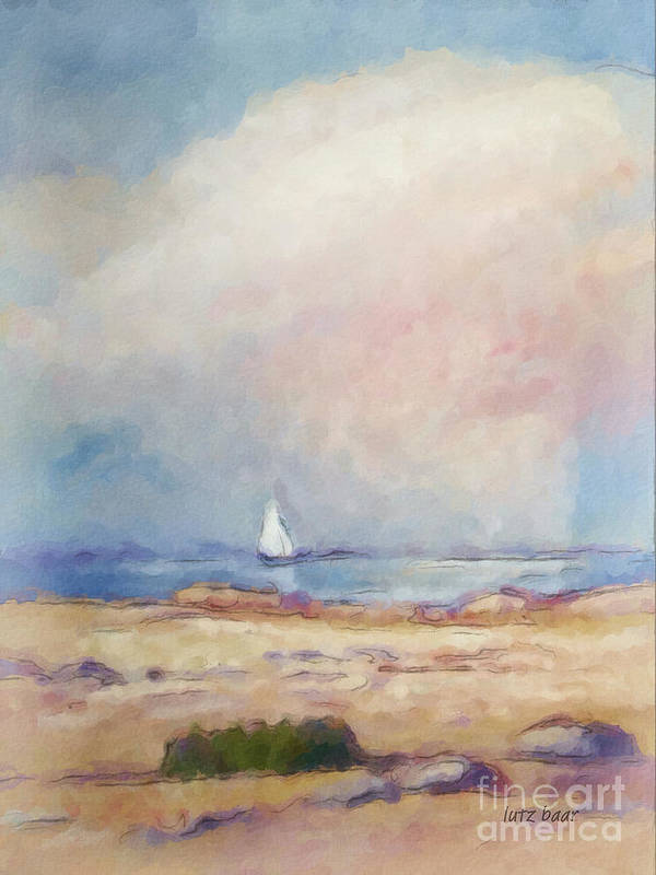 Coast Impression Art Print featuring the painting Light At The Coast by Lutz Baar