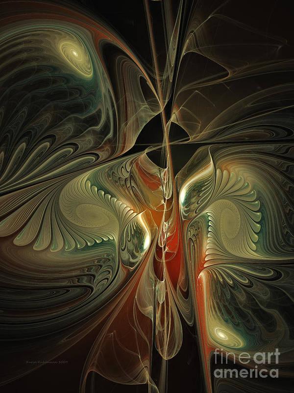 Poetic Art Print featuring the digital art Moonlight Serenade Fractal Art by Karin Kuhlmann