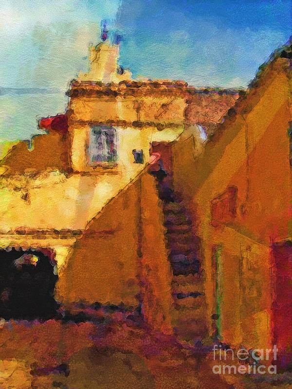 Morocco Art Print featuring the painting Old Town by Lutz Baar