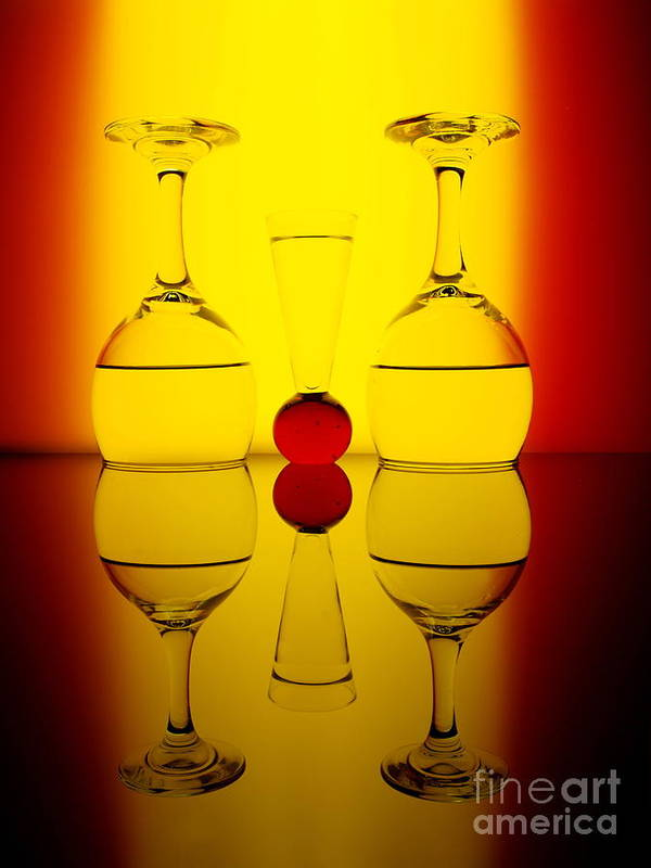 Wine Glasses Art Print featuring the photograph Up Or Down by Trena Mara
