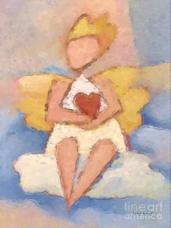 Angel Art Print featuring the painting Valentine Angel by Lutz Baar